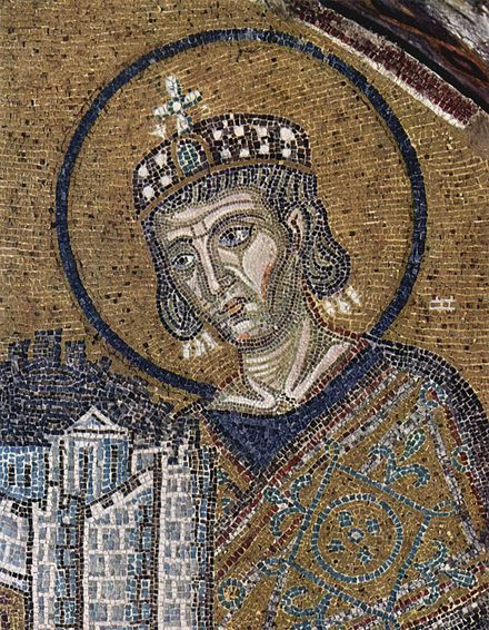 Emperor Constantine presents a representation of the city of Constantinople as tribute to an enthroned Mary and baby Jesus in this church mosaic (Hagia Sophia, c. 1000) Byzantinischer Mosaizist um 1000 002.jpg