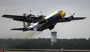 "Blue Angels - Lockheed C-130 Hercules ""Fat Albert"" conducting a Rocket Assisted Take Off"