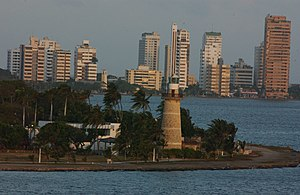 CASTILLO GRANDE LIGHTHOUSE IN CARTAGENA HARBOR - COLOMBIA