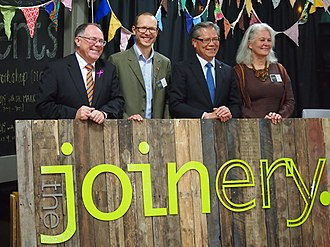 Conservation Council of South Australia - Opening The Joinery 4 June 2015. (l-r) SA Environment Minister the Hon. Ian Hunter MLC; CCSA CEO Craig Wilkinson; Governor of SA, the Hon. Hieu Van Le, AO: CCSA President Nadia McLaren.
