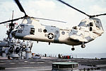 CH-46D of HMM-165 landing on USS Wisconsin (BB-64) 1991.JPEG