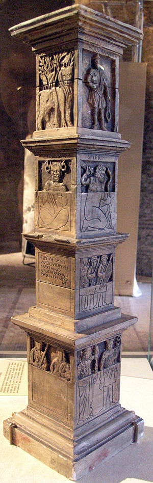Celtic deities - Replica of the incomplete Pillar of the Boatmen, from Paris, with four gods, including the only depiction of Cernunnos to name him (left, 2nd from top).