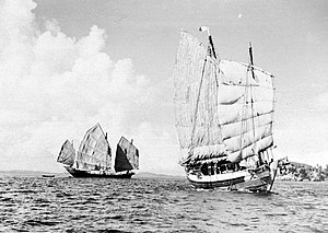 Lorcha (boat) - A junk (left) and a lorcha (right) in 1936 near Sambu Island, Indonesia.
