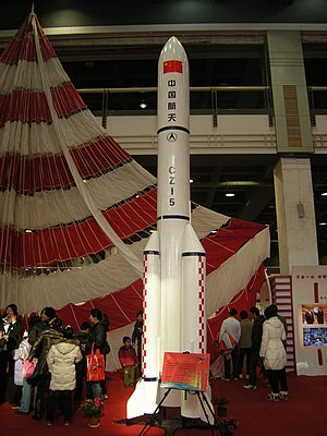 Chinese large modular space station - A model of the launcher for modules, the Long March 5
