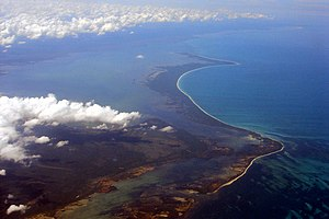 Cabo Catoche - Aerial view of Cabo Catoche, with Holbox in the background (north is to the right)
