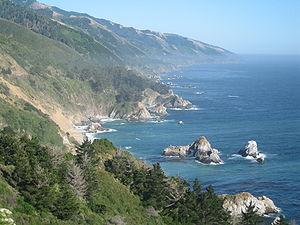 Central California coastline looking south, wi...