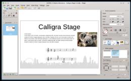 Schermata di Calligra Stage