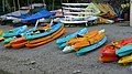 Canoes stored on the lakeside at Nichol End - geograph.org.uk - 1532774.jpg