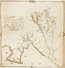 Mappa dei confini giurisdizionali del capitaneato di Rapallo, istituito nel 1608