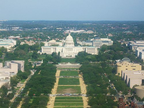 View east from Washington Monument, RFK Stadium in background Capitol from top of Washington Monument.JPG