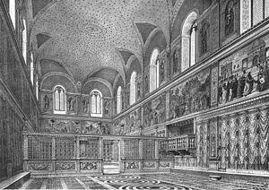 Sistine Chapel - A reconstruction of the appearance of the chapel in the 1480s, prior to the painting of the ceiling.