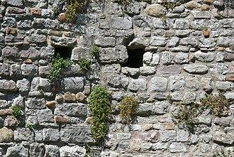 Putlog hole - Putlog holes in Cardiff castle