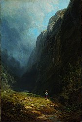 Carl Spitzweg: In the Alpine High Valley (Landscape with Mt. Wendelstein)