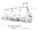 Castello dei visconti d'aosta detto torre di bramafam, fronte ovest, da schizzo D Andrade, fig 172 disegno nigra.tiff