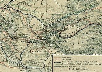 Giovanni da Pian del Carpine - John of Plano Carpini's great journey to the East. His route is indicated, railroad track style, in dark blue