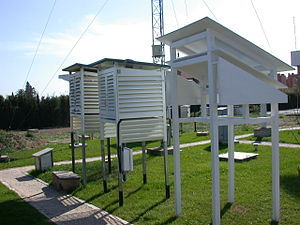 Homogenization (climate) - One way to study the influence of changes in measurement techniques is by making simultaneous measurements with historical and current instruments, procedures or screens. This picture shows three meteorological shelters next to each other in Murcia (Spain). The rightmost shelter is a replica of the Montsouri screen, in use in Spain and many European countries in the late 19th century and early 20th century. In the middle, Stevenson screen equipped with automatic sensors. Leftmost, Stevenson screen equipped with conventional meteorological instruments.