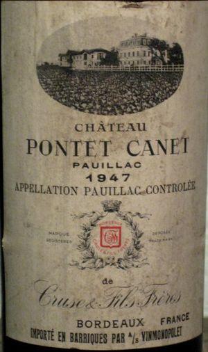 Château Pontet Canet 1947 label