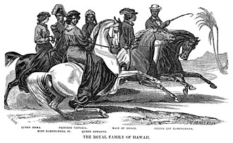 Kamehameha IV - The Royal Family of Hawaii on horseback, 1856, by Charles Christian Nahl