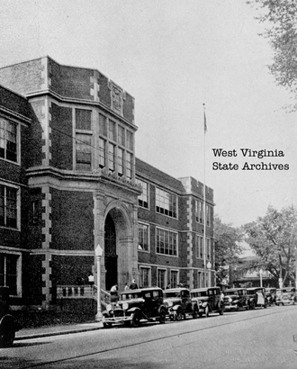 Charleston High School (West Virginia) - Charleston High School, Washington Street entrance. From yearbook Charlestonian, 1933, West Virginia State Archives