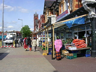 Cheetham Hill Road street in Manchester, United Kingdom