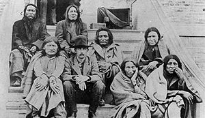 Porcupine (Cheyenne) - Porcupine (second from right) as a prisoner in Kansas 1879