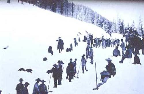 Chinese railroad workers in snow