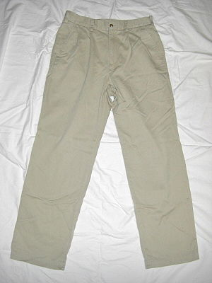 Chino cloth - A pair of trousers made from chino cloth, generally referred to as chinos