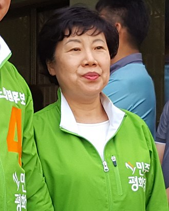 2018 South Korean local elections - Image: Cho Bae sook, Leader of the Party for Democracy and Peace attended Lee Hyeon ung mayor of Jeonju Mayor's election office opening ceremony