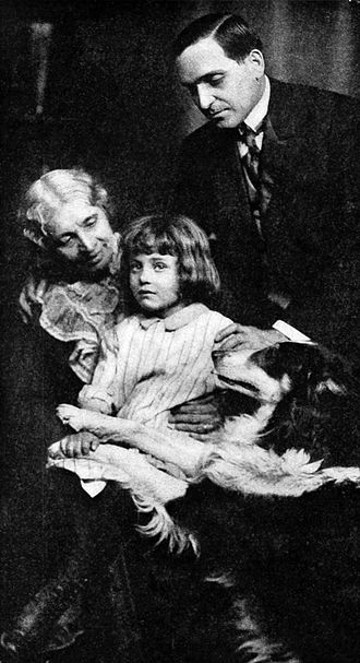 Helene Costello - Mary Maurice, Helene Costello, Earle Williams and Jean, the Vitagraph Dog, in The Church Across the Way (1912)