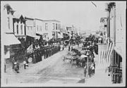 Civil War Veterans, Fourth of July or Decoration Day, Ortonville, Minnesota. On review in center of town, ca. 1880 - NARA - 558761