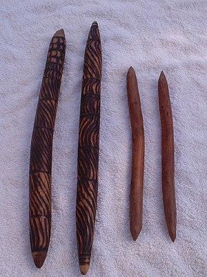 Clapstick - Two pairs of Australian Aboriginal clapsticks