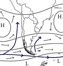 Weather maps showing the usual position of weather systems around the southern part of South America.