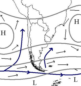 South Pacific High - Sketch showing the normal location of the Pacific High west of Peru and Chile