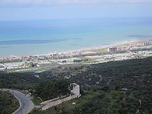 Maten al-Sahel - Coastal view from mountain top.  By Sammer.