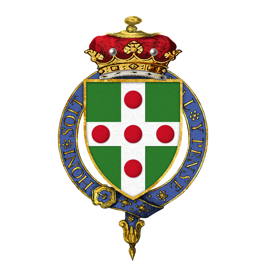 Shield of arms of George Nugent-Temple-Grenville, 1st Marquess of Buckingham, KG, KP, PC - Vert, on a cross argent five torteaux (for Grenville) Coat of arms of George Nugent-Temple-Grenville, 1st Marquess of Buckingham, KG, KP, PC.png