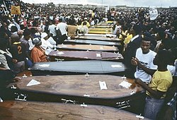 Coffins of the Langa Massacre's victims.