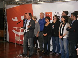 Valencian Nationalist Bloc - The people of Compromís, with Joan Baldoví in front, celebrating their first MP in the Spanish general election, 2011.