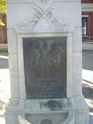 Confederate Memorial in Mayfield - Plaque on the memorial