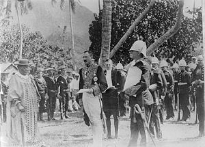 Cook Islands - Governor-General Lord Ranfurly reading the annexation proclamation to Queen Makea on 7 October 1900.