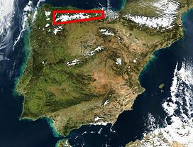 Location of the Cantabrian Mountains in northern Spain
