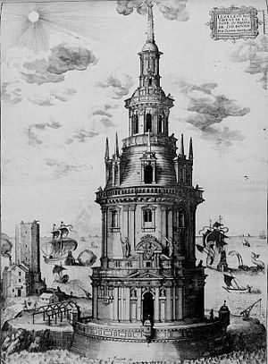 History of lighthouses - Engraving of the Cordouan tower completed in 1611
