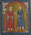 Count Ponç I of Empúries swears loyalty to Count Gilabert II of Roussillon, who shakes his hand.png
