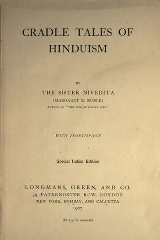 Sister Nivedita - Title page of Sister's 1913 book Cradle Tales of Hinduism