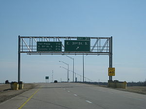 Creek Turnpike - Signage at exit 31