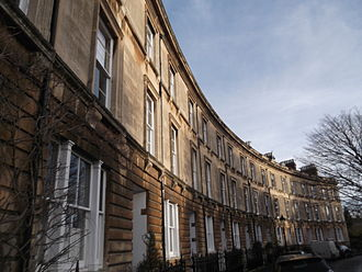 Park Town, Oxford - Terraced houses on the north side of the main crescent of Park Town.