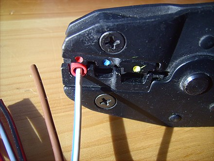 A wire and connector being crimped together with a crimping tool Crimping tool 04.jpg