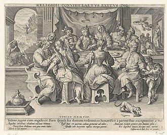 Rectangular Octave Virginal - Image: Crispijn van de Passe after Maerten de Vos Return of Tobias RP P 1966 466