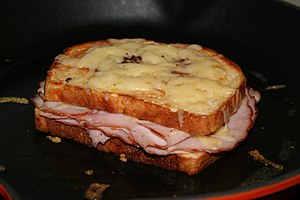 A croque-monsieur sandwich.