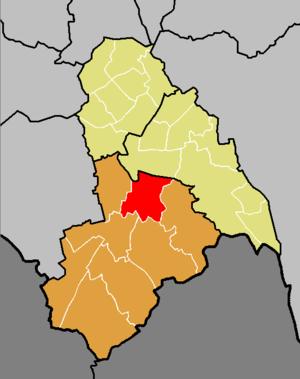 Croham (ward) - Croham ward (red) shown within Croydon South constituency (orange) and the London Borough of Croydon (yellow)
