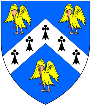 Cullum baronets - Arms of Cullum: Azure, a chevron ermine between 3 pelicans vulning their breasts or